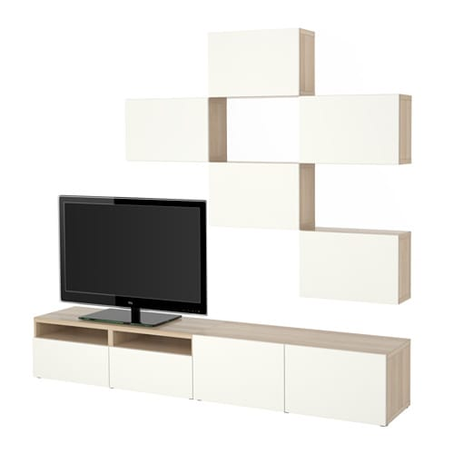 best tv m bel kombination egetr sm nster med hvid bejdse lappviken hvid skuffeskinne. Black Bedroom Furniture Sets. Home Design Ideas