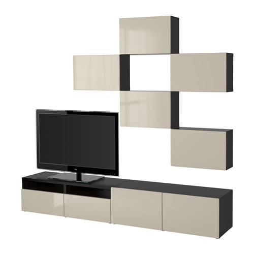 best tv m bel kombination sortbrun selsviken h jglans beige skuffeskinne bnebeslag ikea. Black Bedroom Furniture Sets. Home Design Ideas