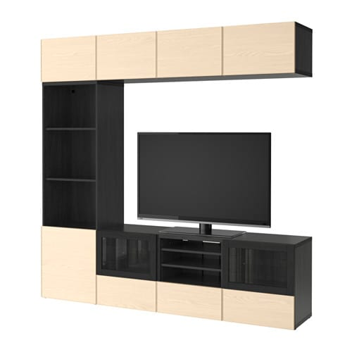 best tv m bel med vitrinel ger sortbrun inviken asketr sfiner skuffeskinne bnebeslag ikea. Black Bedroom Furniture Sets. Home Design Ideas