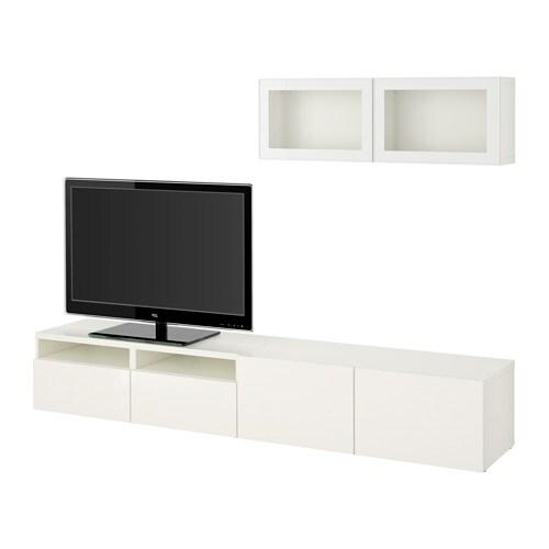 best tv m bel med vitrinel ger hvid selsviken h jglans hvidt klart glas skuffeskinne. Black Bedroom Furniture Sets. Home Design Ideas