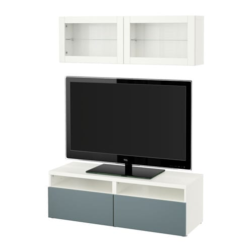 best tv m bel med vitrinel ger hvid valviken gr turkis klart glas skuffeskinne letl bende. Black Bedroom Furniture Sets. Home Design Ideas