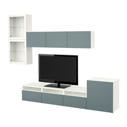 best tv m bel med vitrinel ger hvid valviken gr turkis klart glas skuffeskinne bnebeslag. Black Bedroom Furniture Sets. Home Design Ideas