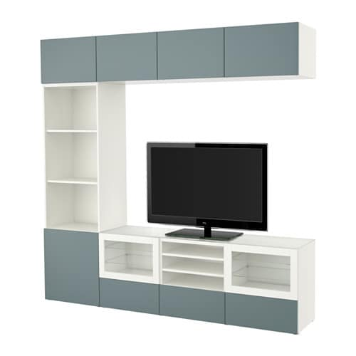 best tv m bel med vitrinel ger hvid valviken turkisgr. Black Bedroom Furniture Sets. Home Design Ideas