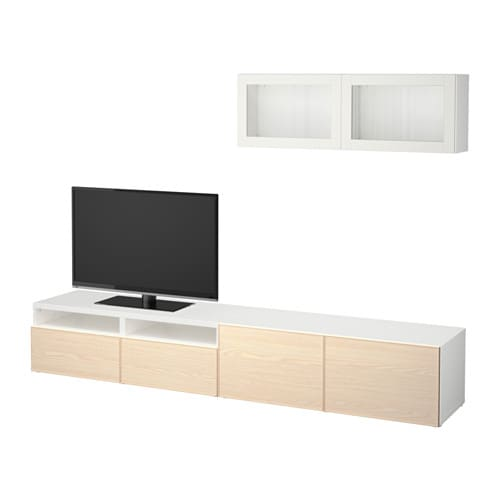best tv m bel med vitrinel ger hvid sindvik inviken asketr sfiner skuffeskinne bnebeslag. Black Bedroom Furniture Sets. Home Design Ideas
