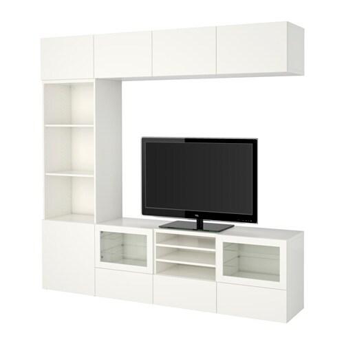 best tv m bel med vitrinel ger lappviken sindvik hvidt klart glas skuffeskinne bnebeslag. Black Bedroom Furniture Sets. Home Design Ideas