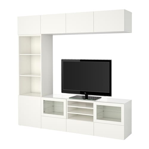 best tv m bel med vitrinel ger lappviken sindvik hvidt klart glas skuffeskinne bnebeslag. Black Bedroom Furniture Sets. Home Design Ideas