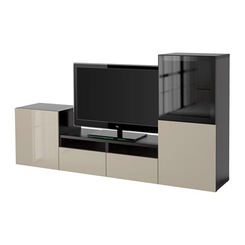 best tv m bel med vitrinel ger sortbrun selsviken beige h jglans klart glas skuffeskinne. Black Bedroom Furniture Sets. Home Design Ideas