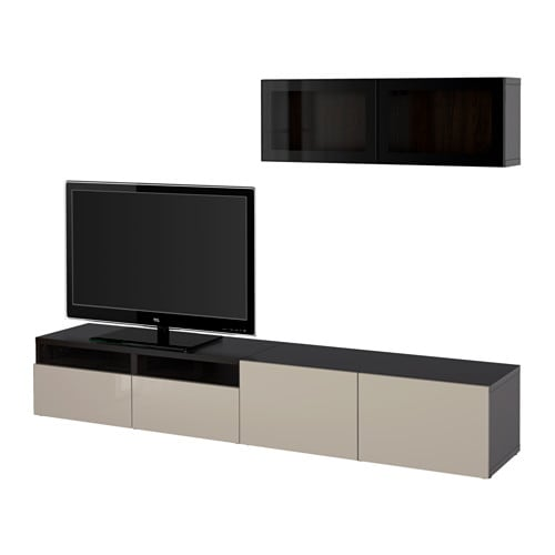 best tv m bel med vitrinel ger sortbrun selsviken beige. Black Bedroom Furniture Sets. Home Design Ideas