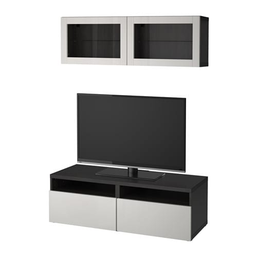best tv m bel med vitrinel ger sortbrun lappviken lysegr klart glas skuffeskinne. Black Bedroom Furniture Sets. Home Design Ideas