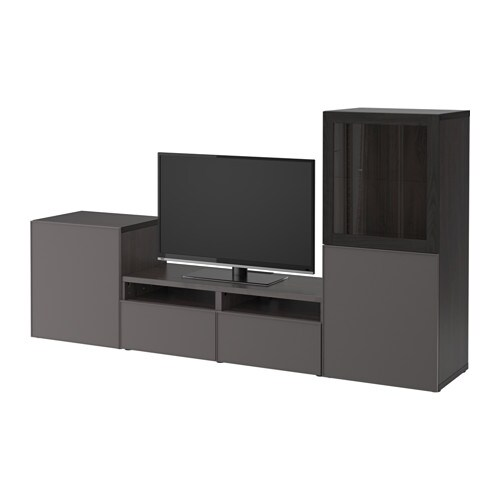 best tv m bel med vitrinel ger sortbrun grundsviken m rkegr klart glas skuffeskinne. Black Bedroom Furniture Sets. Home Design Ideas
