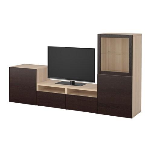 best tv m bel med vitrinel ger egetr sm nster med hvid bejdse sindvik inviken sortbrunt klart. Black Bedroom Furniture Sets. Home Design Ideas