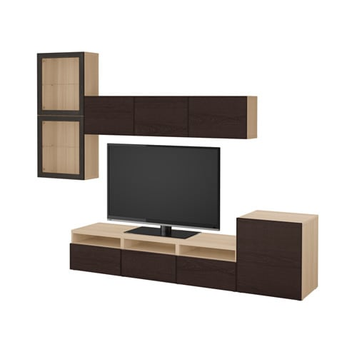 best tv m bel med vitrinel ger egetr sm nster med hvid bejdse sindvik inviken sortbrunt klart. Black Bedroom Furniture Sets. Home Design Ideas