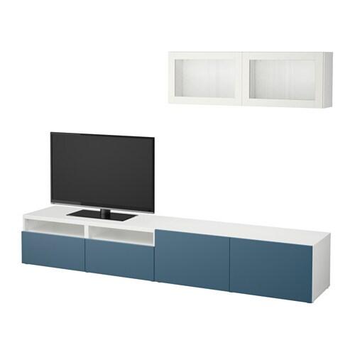 best tv m bel med vitrinel ger hvid valviken m rkebl klart glas skuffeskinne bnebeslag ikea. Black Bedroom Furniture Sets. Home Design Ideas