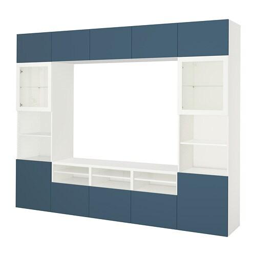 best tv m bel med vitrinel ger hvid valviken m rkebl. Black Bedroom Furniture Sets. Home Design Ideas