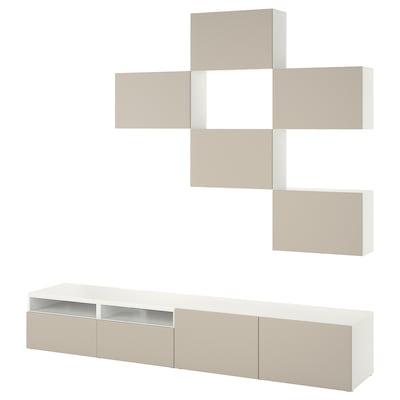 BESTÅ Tv-møbel, kombination, hvid Lappviken/lys gråbeige, 240x42x230 cm