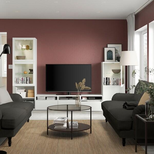 BESTÅ Tv-møbel m opbevaring/vitrinelåger, hvid/Lappviken hvidt klart glas, 300x42x193 cm
