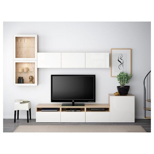 BESTÅ Tv-møbel med vitrinelåger, egetræsmønster med hvid bejdse/Selsviken højglans/hvidt klart glas, 300x42x211 cm