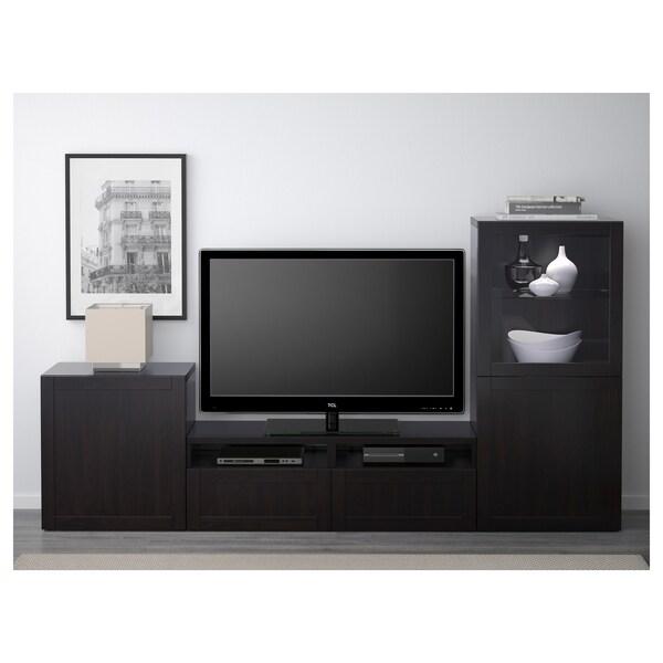 BESTÅ Tv-møbel med vitrinelåger, Hanviken/Sindvik sortbrunt klart glas, 240x40x128 cm