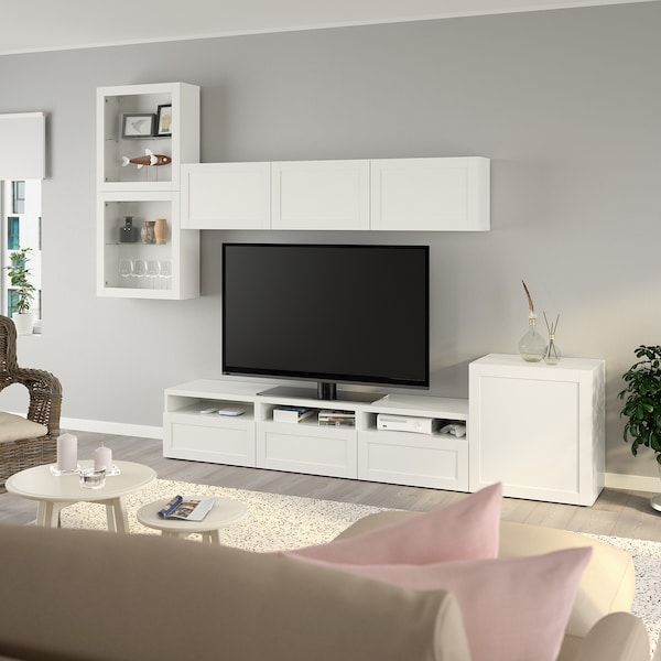 BESTÅ Tv-møbel med vitrinelåger, hvid/Hanviken hvidt klart glas, 300x42x211 cm