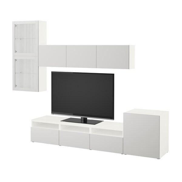 BESTÅ Tv-møbel med vitrinelåger, hvid/Lappviken lysegråt klart glas, 300x42x211 cm