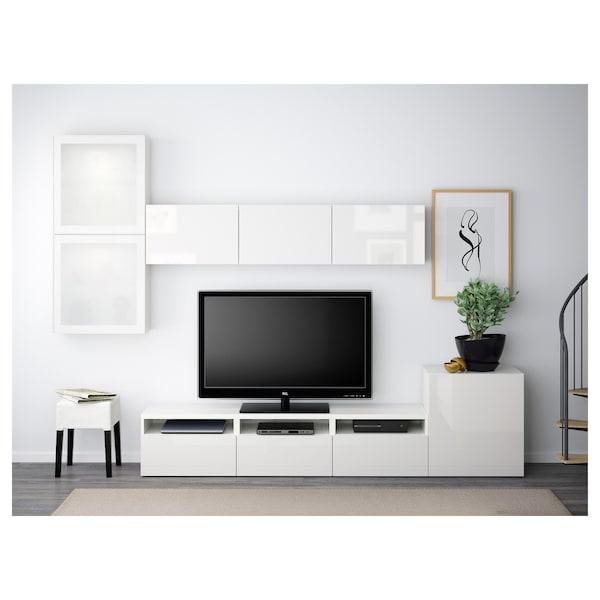 BESTÅ Tv-møbel med vitrinelåger, hvid/Selsviken højglans/hvidt frostet glas, 300x42x211 cm