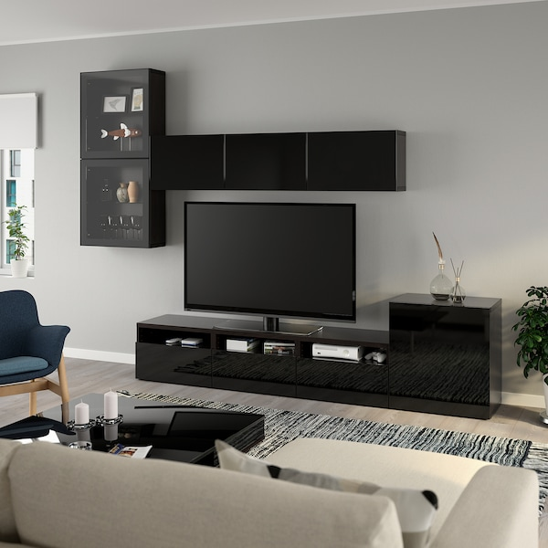 BESTÅ Tv-møbel med vitrinelåger, sortbrun/Selsviken højglans/sort klart glas, 300x42x211 cm