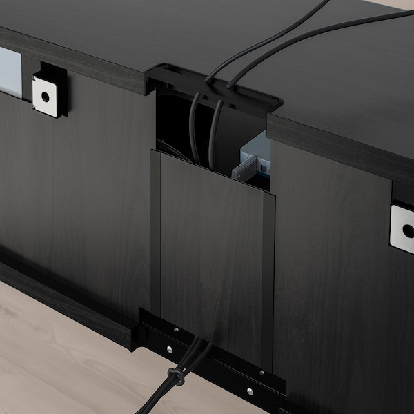 BESTÅ Tv-møbel med vitrinelåger, sortbrun/Selsviken højglans/sort røgfarvet glas, 300x42x211 cm