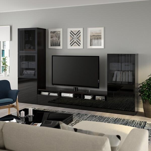 BESTÅ tv-møbel med vitrinelåger sortbrun/Selsviken højglans/sort røgfarvet glas 300 cm 42 cm 193 cm
