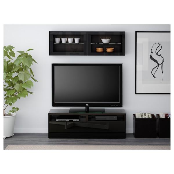 BESTÅ tv-møbel med vitrinelåger sortbrun/Selsviken højglans/sort klart glas 120 cm 166 cm 20 cm 40 cm