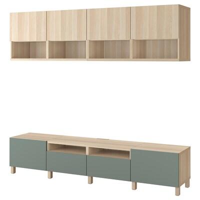 BESTÅ tv-møbel, kombination egetræsmønster med hvid bejdse Lappviken/Notviken/Stubbarp grågrøn 240 cm 42 cm 230 cm