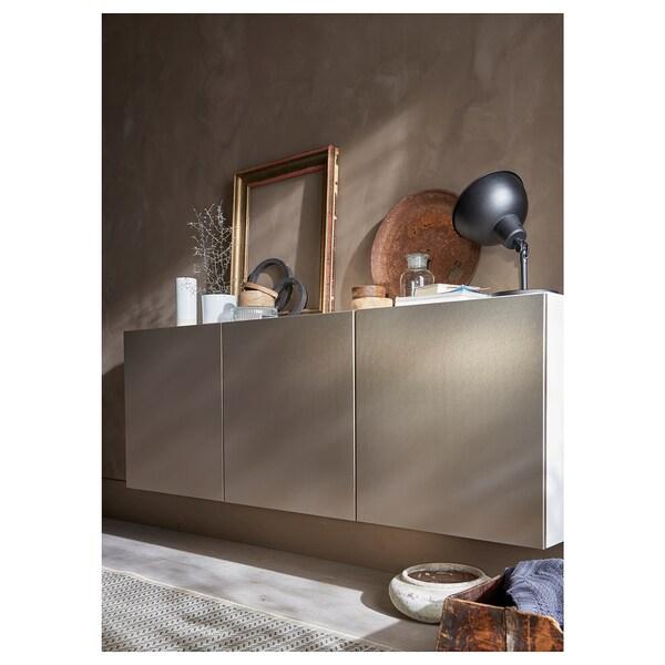 BESTÅ Vægmonteret skabskombination, hvid/Riksviken lyst bronzemønster, 180x42x64 cm