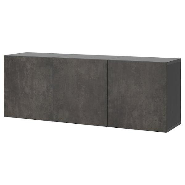 BESTÅ Vægmonteret skabskombination, sortbrun/Kallviken betonmønstret, 180x42x64 cm