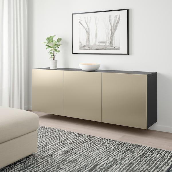 BESTÅ Vægmonteret skabskombination, sortbrun/Riksviken lyst bronzemønster, 180x42x64 cm