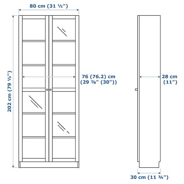 BILLY / OXBERG Reol med vitrinelåger, egetræsfiner med hvid bejdse/glas, 80x30x202 cm