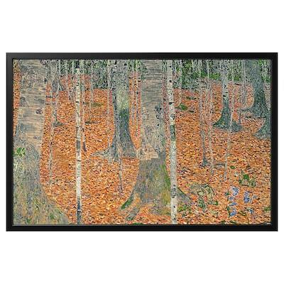 BJÖRKSTA Billede med ramme, Birketræsskoven/sort, 118x78 cm