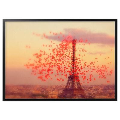 BJÖRKSTA Billede med ramme, Eiffeltårnet/sort, 140x100 cm