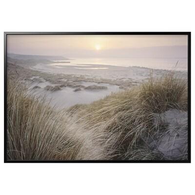 BJÖRKSTA Billede med ramme, kyst ved daggry/sort, 200x140 cm