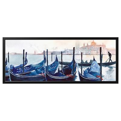 BJÖRKSTA Billede med ramme, Morgen i Venedig/sort, 140x56 cm