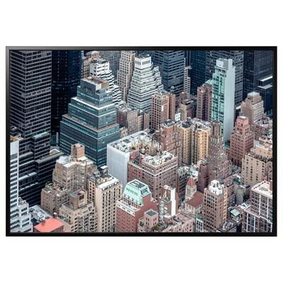 BJÖRKSTA Billede med ramme, New York fra oven/sort, 200x140 cm