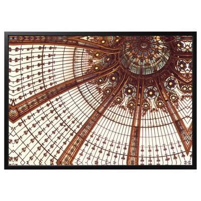 BJÖRKSTA Billede med ramme, Vitrails/sort, 140x100 cm