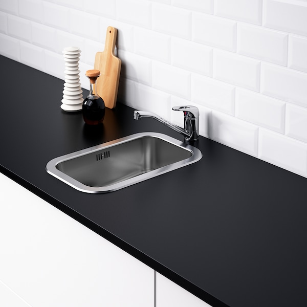 BOHOLMEN Indbygningsvask, enkelt, rustfrit stål, 47x30 cm