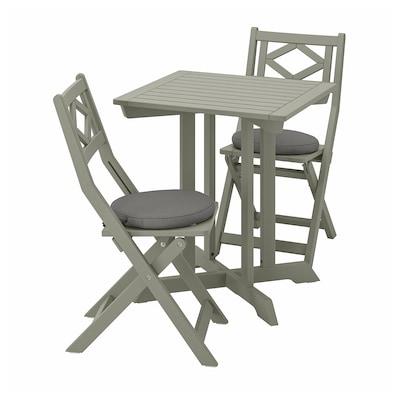 BONDHOLMEN Bord+2 klapstole, ude, grå bejdse/Frösön/Duvholmen mørkegrå
