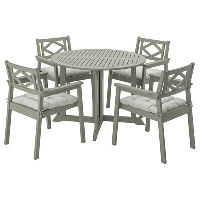 BONDHOLMEN Bord+4 stole med armlæn, ude, grå bejdse/Kuddarna grå