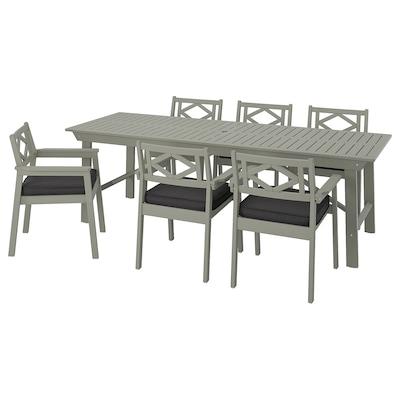 BONDHOLMEN Bord+6 stole med armlæn, ude, grå bejdse/Järpön/Duvholmen antracit