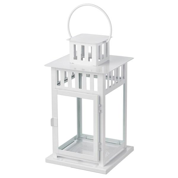 BORRBY Lanterne til bloklys, indendørs/udendørs hvid, 28 cm