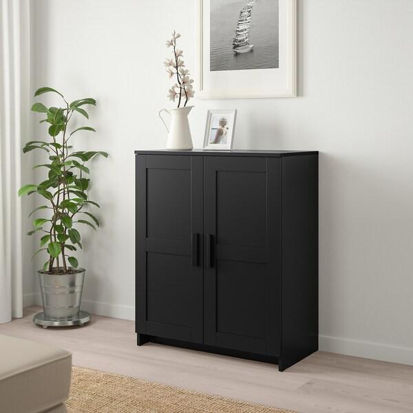 BRIMNES Skab med låger, sort, 78x95 cm