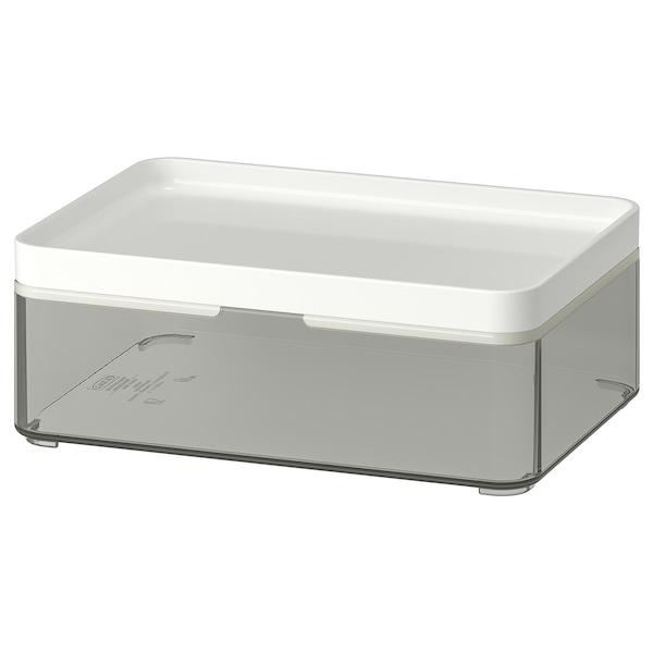 BROGRUND boks transparent grå/hvid 20 cm 14 cm 7 cm 1 l