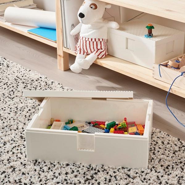 BYGGLEK LEGO®-kasse med låg, 35x26x12 cm