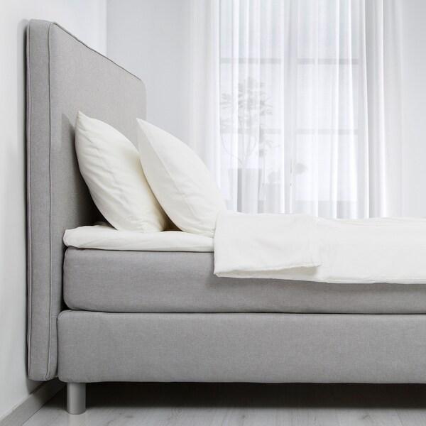 DUNVIK Kontinentalseng, Hövåg fast/Tussöy lysegrå, 140x200 cm