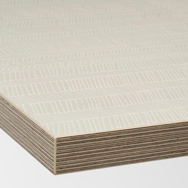 EKBACKEN Bordplade efter mål, mat overflade beige/mønstret laminat, 45.1-63.5x2.8 cm